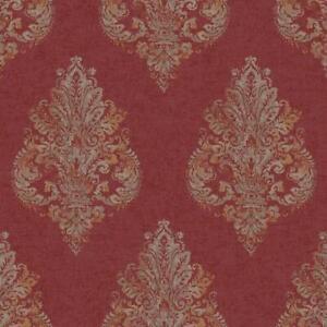 Wallpaper-Designer-Gold-Glitter-amp-Tan-Damask-on-Red-Faux