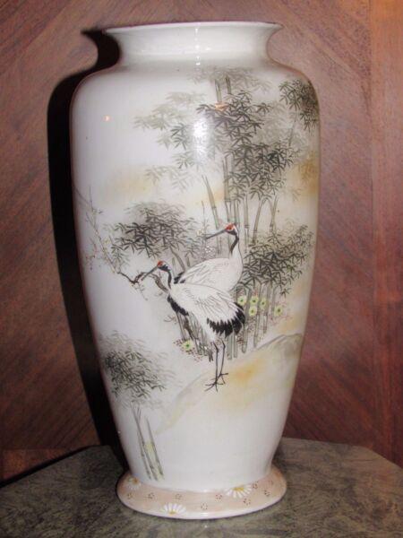 11c1 Antiguo Jarrón China Porcelana Ornamentación Grúa En Un Paisaje De Bambú Asegurar Una Apariencia Como Nueva Indefinidamente