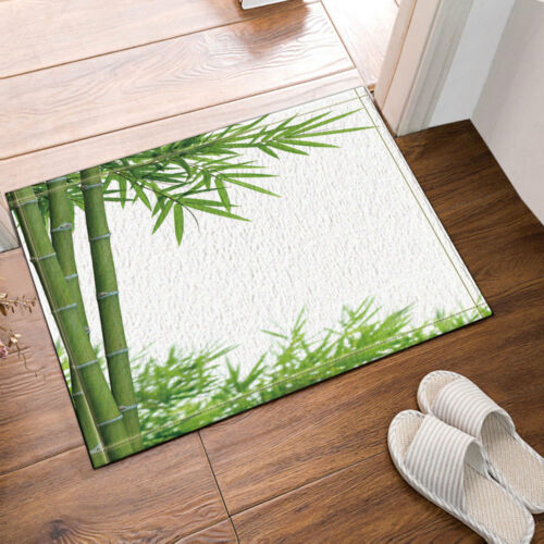 Natural Green Bamboo White Background Rug Carpet Bedroom Bathroom Mat Doormat