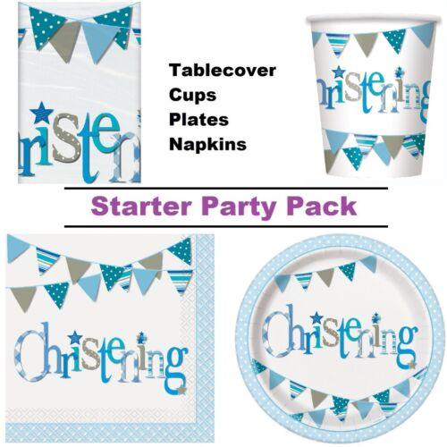Blue Bunting Baptême Parti fournitures Vaisselle Décorations /& Ballons
