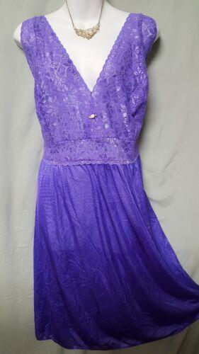 "Amoureuse PURPLE Nightgown Robe  PEIGNOIR SET 41/"" Long Sz  2X  52/"" BUST Gift"