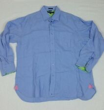 Tommy Hilfiger Pure Linen Men's Long Sleeves Size Large Light Blue Contrast Cuff