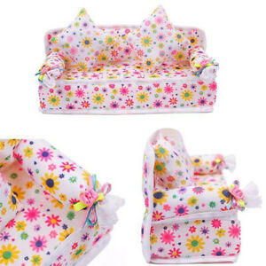 AU-FT-AG-Mini-Furniture-Flower-Fabric-Sofa-Couch-2-Cushions-for-Doll-House
