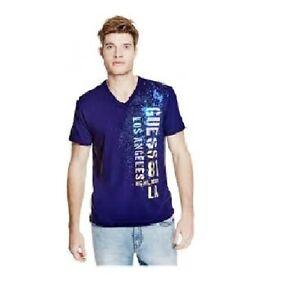 77313099dd26 New Guess Mens Blue Chavez Gradient Logo Short Sleeve V-Neck Tee T ...