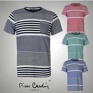 Para-Hombre-Pierre-Cardin-elegante-Mezcla-A-Rayas-Camiseta-De-Algodon-Top-Tamanos-de-S-a-XXL