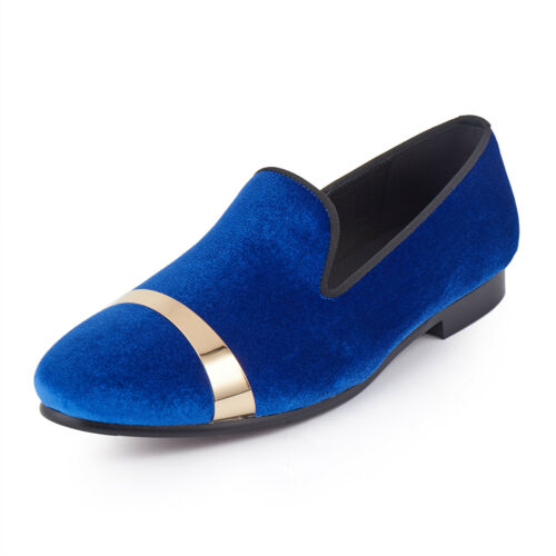 Harpelunde Blue Velvet Loafers Handmade Gold Plate Men Dress Shoes Size 6-14