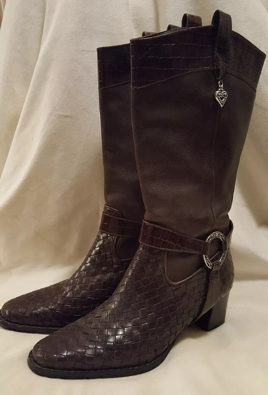 Beautiful TRAVIS BRIGHTON Brown Weave LEATHER Pull on BOOTS 2
