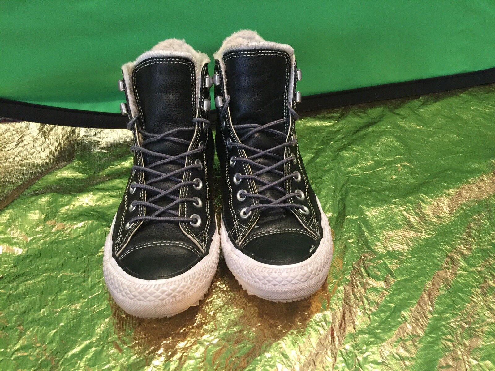 Converse All Star Cuero Negro Zapatillas Vulcanizadas para mujer mujer mujer Talla 9 Seminuevo eee1f7