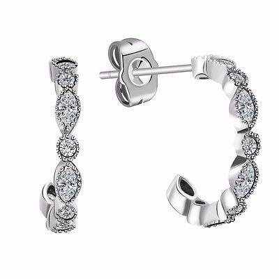 Elegant Woman Sterling 925 Silver Ear Stud CZ Crystals Dangle Earrings Jewelry