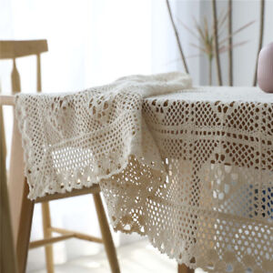 Vintage Beige America Country Knitted Crochet Hollow Table Cloth Cover Rectangle