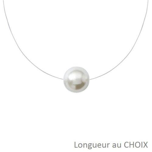 COLLIER NYLON Perle de Culture Nacré 10mm en ARGENT Longueur au Choix