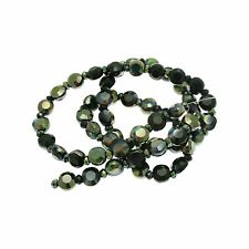 Black Flat Circular Crystal Beads with an AB Finish approx 55/String size 6x4mm