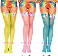 Neon Fishnet Stockings Satin Bows Over-the-knee School Girl Thigh High Sock Rave