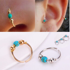 Turquoise-Nostril-Stainless-Steel-Nose-Ring-Earring-Piercing-Hoop-Jewelry-Lady