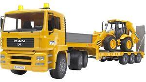 BRUDER MAN TGA LOW LOADER with JCB 4CX Backhoe Loader Truck Lorry 1:16 02776