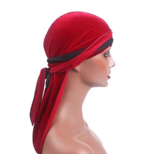 Men Women Muslim Islamic Hats Velvet Breathable Bandana Durag Rag Long Tail Cap