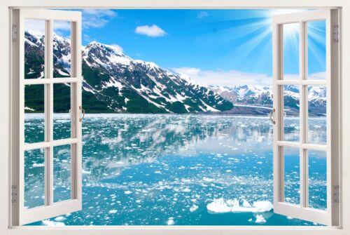 3d window wall sticker skline ocean sea view wall decal  removable vinyl W117