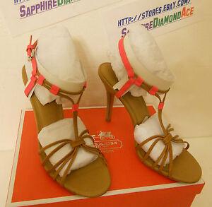 116d293b670 COACH LANA HEEL FLUORESCENT PINK Shoes Heels A0781 Size 7 M BRAND ...
