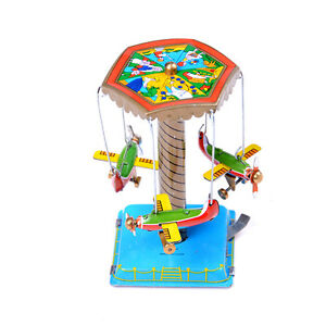 Vintage-Wind-Up-Fairground-Carousel-Airplanes-Planes-Mechanical-Tin-Toy-Gift-FU
