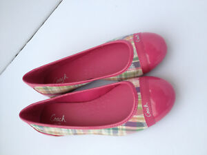 Coach-Cecile-Pink-Patent-Leather-and-Multicolored-Cloth-Flats-Women-Size-8