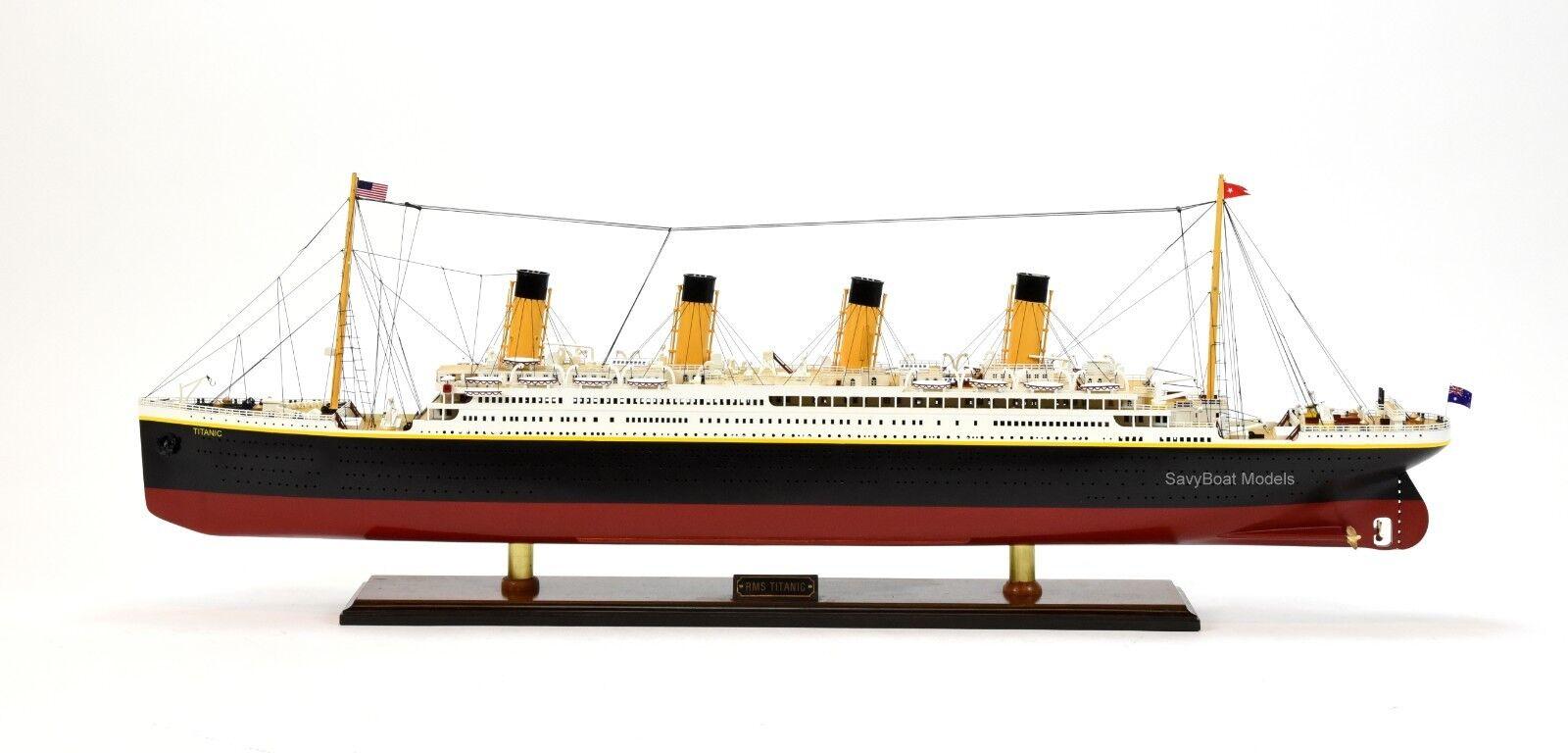 Rms Titanic Blanco Star Line Crucero Barco Hecho a Mano Modelo 40