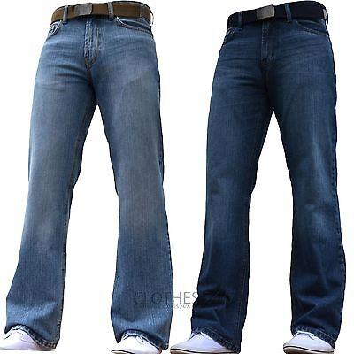 Bnwt Nuovo Da Uomo bootcut svasato Gamba Larga Dark Blu Denim Jeans Tutti Girovita /& dimensioni