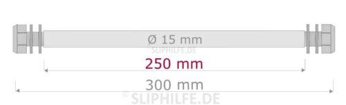 ⚓ Stahl-Achse Ø15 mm ➔ Nutz-Längen: 130 200 250 300 350 mmfür Kielrolle
