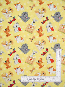 Puppy-Dog-Animal-Toss-Yellow-Cotton-Fabric-Henry-Glass-6960-Dogs-Suds-By-Yard