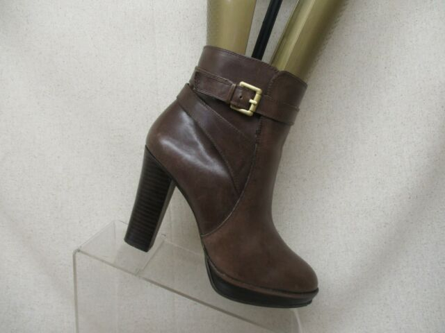 ARTURO CHANG Brown Leather Side Zip Buckle Ankle Fashion Boots Bootie Size 7 M