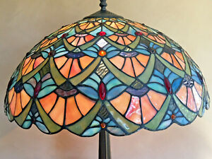 Antique Stained Glass Lamps.Details About Vintage Tiffany Style Peacock Feather Design Large Stained Glass Lamp Shade Only