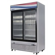 Atosa Mcf8709gr 2 Sliding Glass Doors Refrigerator Stainless Steel Withcasters Led