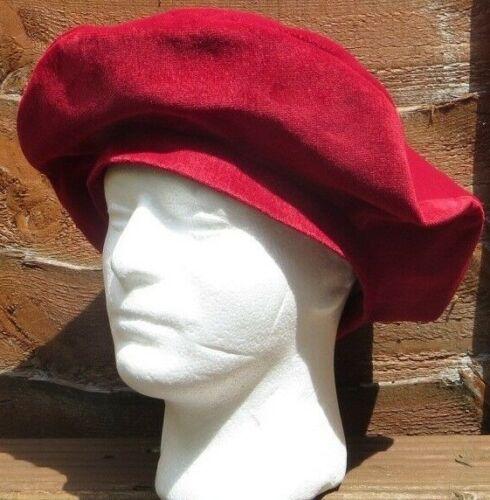 Rievocazione XL Velluto Rosso Medievale Tudor GRANDE Cappello Rotondo Berretto foderato con cotone