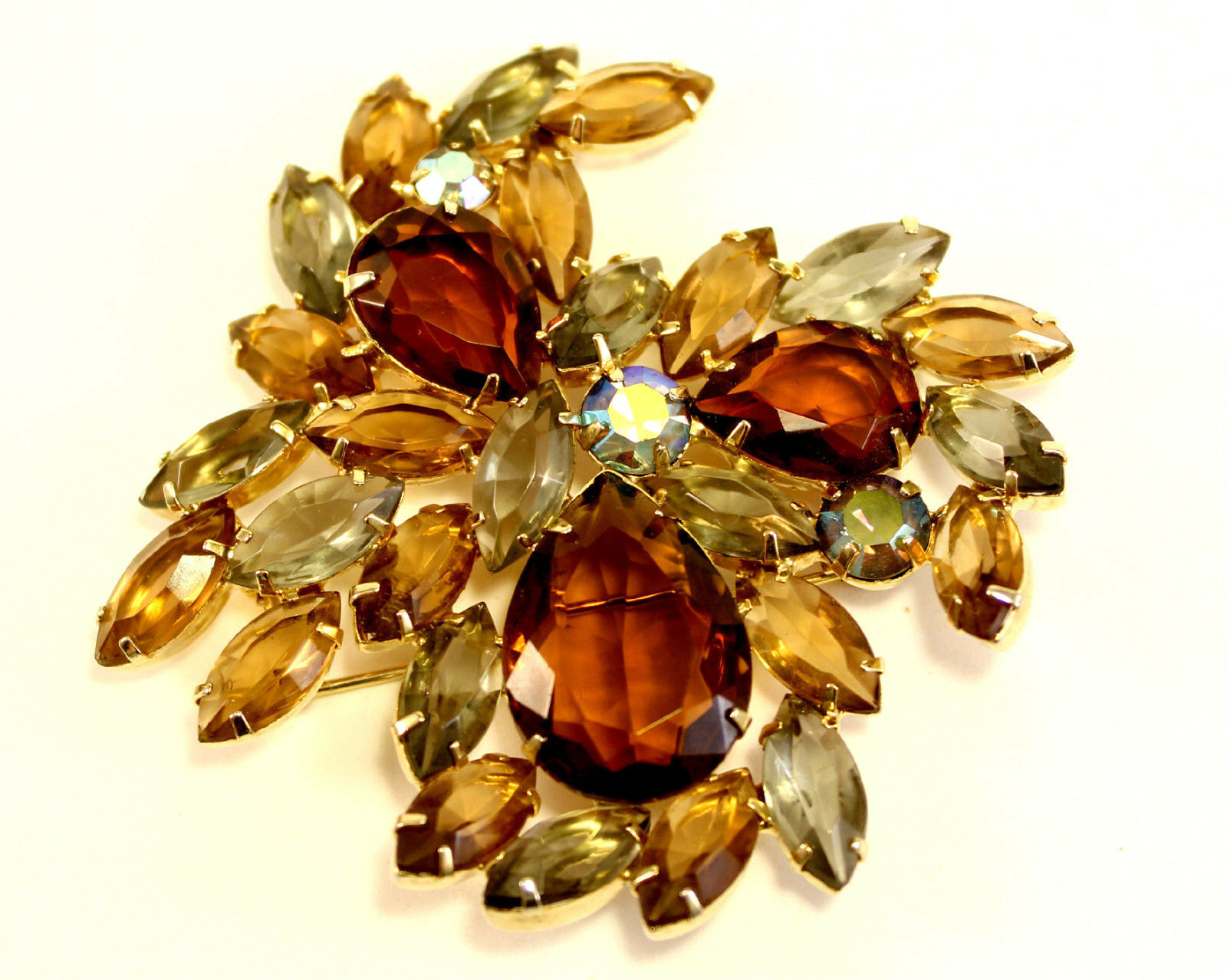 Beautiful Vintage bluee and Amber color Rhinestone gold Tone Big Brooch Pin 34 gr