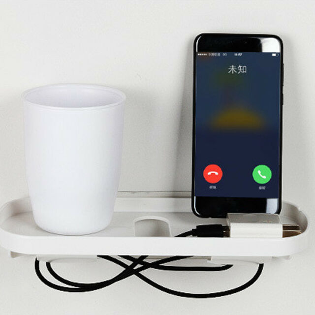 1x Phone Charger Wall Mounted 2-Hook Storage Hanger Rack Bathroom Hanging Holder