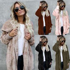 34508ee5f Womens Faux Fur Coat Shaggy Jacket Cardigan Warm Hooded Hoodie ...
