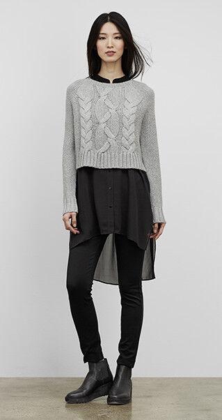Eileen Fisher projet laine mérinos chaussureslace chandail Crop Top Moon 398 M