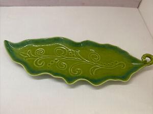 Vintage-Art-Pottery-Green-Leaf-Floral-Large-Decorative-Dish-Bowl-Unbranded