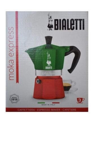 Bialetti Moka Express Italia Tricolore Espressokoc... 3 Tassen Kaffeebereiter