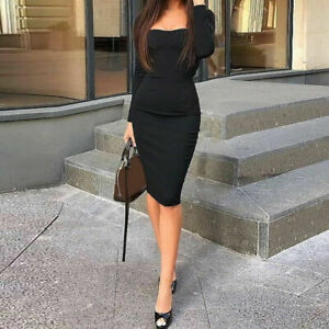 Cocktail-Dress-Solid-Midi-Women-Sleeve-Bodycon-Short-Bandage-Long-Evening-Party
