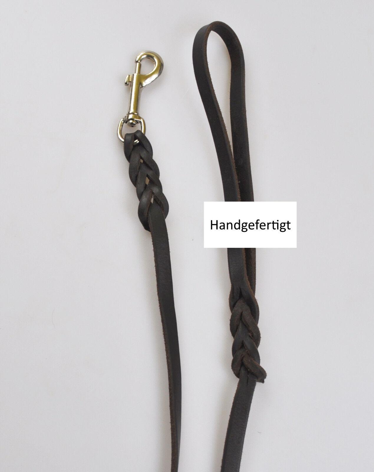Fettlederleine 1,50m geflochten mit Handschlaufe 5 5 5 Breiten Lederleine Braun    Haltbar  afa862