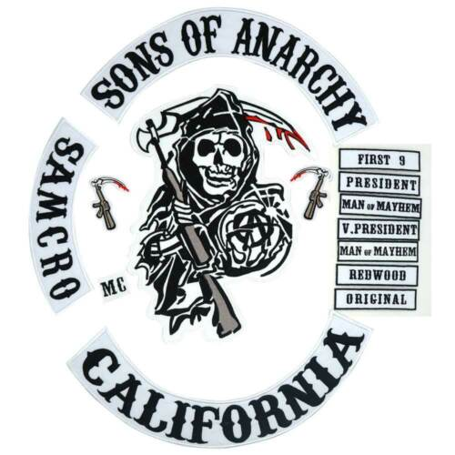 Sons Of Anarchy Emblem Motorcycle Biker Club Jacket Back Embroidered Patches