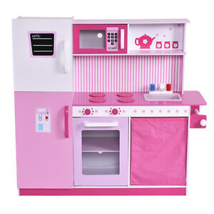 Image Is Loading Kids Wood Kitchen Toy Cooking Pretend Play Set