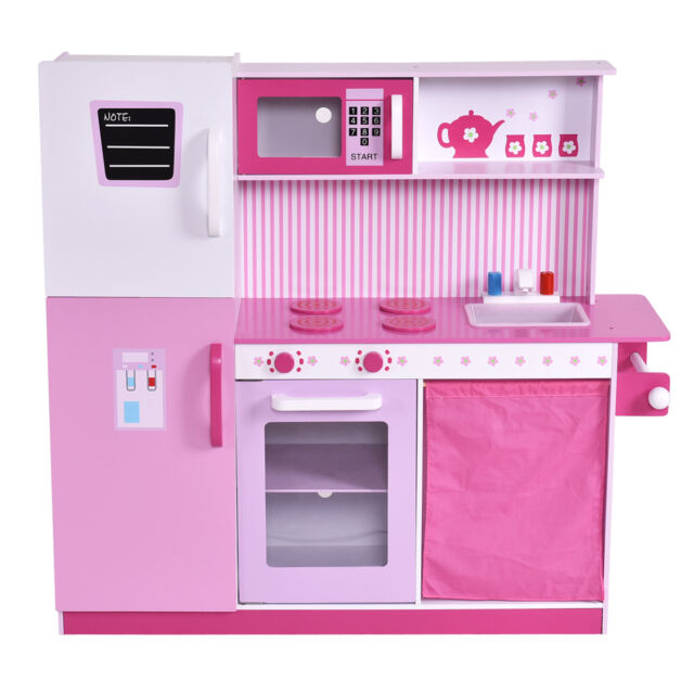 Costzon Kids Pink Wooden Kitchen Cooking Pretend Play Set With Solid Wood  Constr