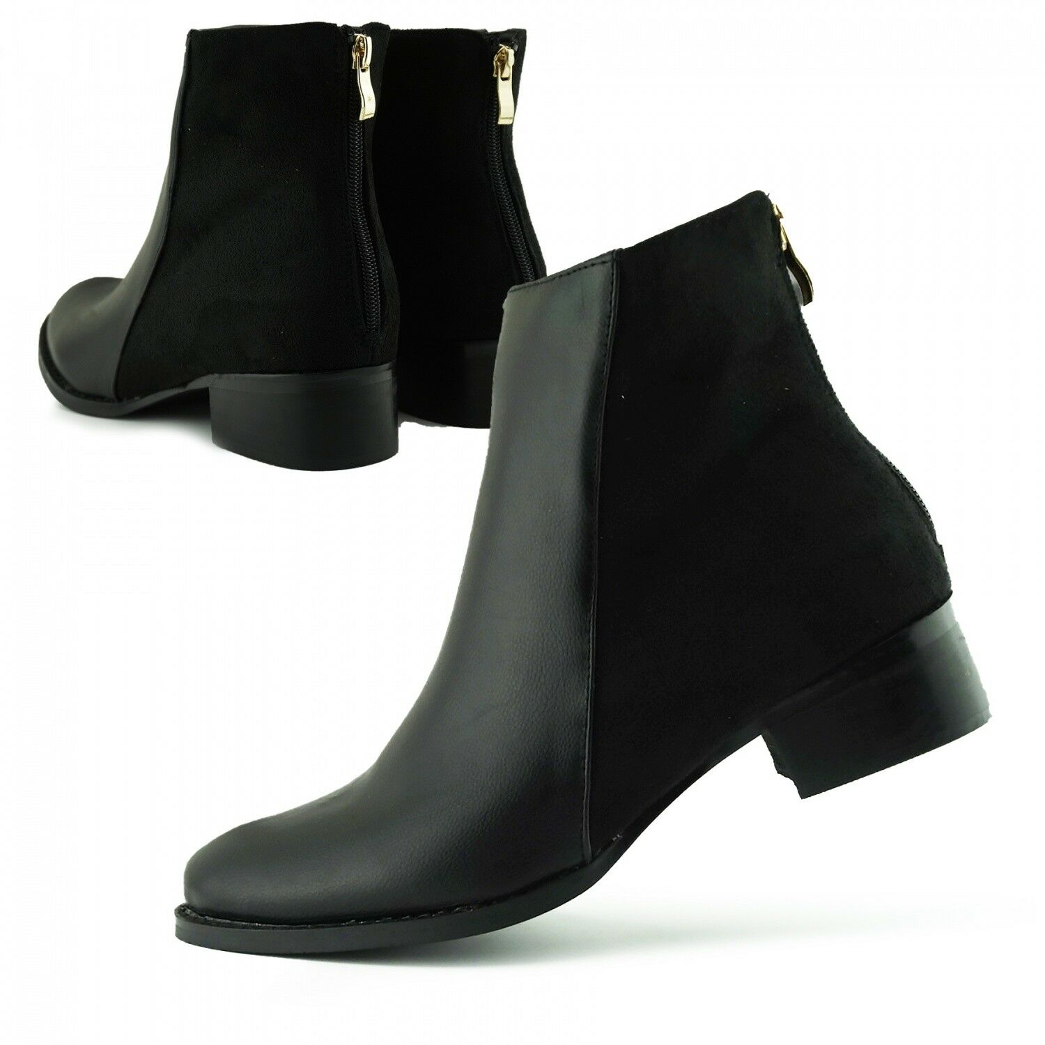 1a8ebd5e670c Details about Women s Low Block Flat Heel   Rounded Toe School Work Ankle  Boots