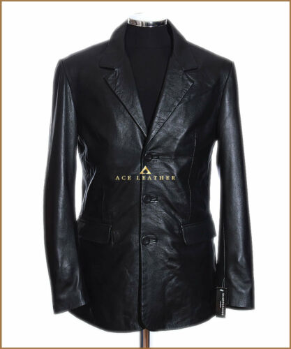 Rocco Black 3 Button Men's New Smart Real Soft Lambskin Leather Blazer Jacket