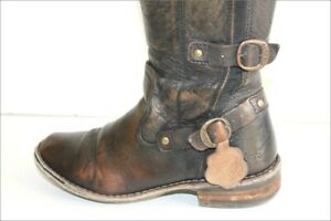 KICKERS-Bottes-a-Lanieres-Cuir-Marbre-Nuance-Doublees-Cuir-T-38-BE