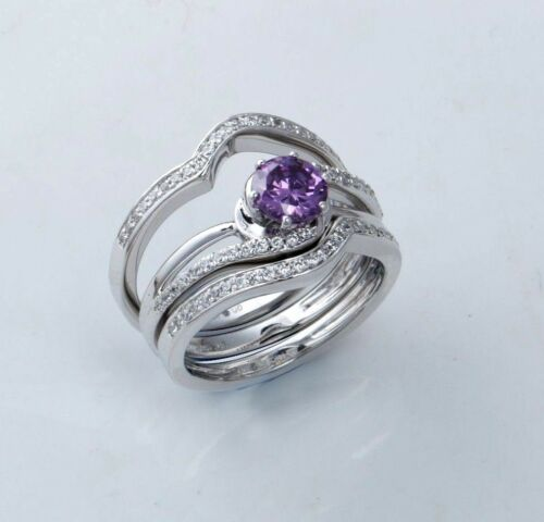 1.05 Ct Purple Amethyst With Sapphire Trio Bridal Ring Set 14k White Gold Finish