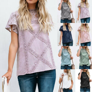 Womens-Short-Sleeve-Blouse-Lace-Patchwork-Flare-Ruffles-Cotton-T-Shirt-Tank-Top