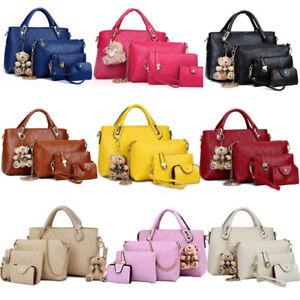 4PCS-Set-Women-Lady-Leather-Shoulder-Bag-Handbag-Satchel-Clutch-Coin-Purse-Lot
