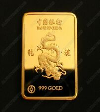 Chinese Year of the Dragon Gold Plated Commemorative Coin / Bar Souvenir Token